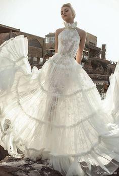 danny mizrachi 2018 bridal sleeveless halter neckline full embellishment vintage romantic a  line wedding dress (8) mv -- Dany Mizrachi 2018 Wedding Dresses