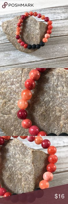 Bracelet Essential Oil diffuser Quartzite & Lava Beautiful 8 mm dyed Quartzite and Lava Stone Beads, made with professional stretch cord  Put essential oil on Lava rock beads to carry aroma with you  Essential Oils available on my website listed at top of my closet in the banner, just click  red orange Lisa Halstead Jewelry Bracelets