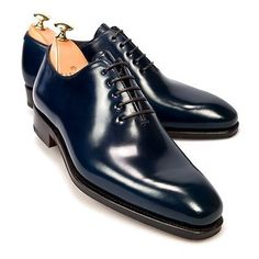 Handmade-Navy-Blue-Oxford-Leather-Men-039-s-Dress-Shoes-With-Plain-Toe-Made-To-Order
