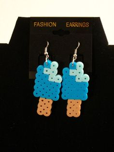 Popsicle Earrings Kawaii Perler Beads Blue Orange Purple Multicolored (pick your color) by RainbowMoonShop on Etsy