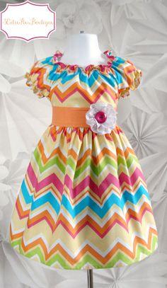 Peasant dress Easter dress Chevron dress by 3cutiepiesbowtique, $49.00