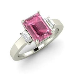 Victoria Engagement Ring with Emerald cut Pink Tourmaline, White Topaz | 1.52 carat Rectangle Pink Tourmaline  Three stone Engagement Ring in Sterling Silver | Diamondere