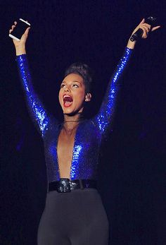 "American singer Alicia Keys performs at the concert of her ""Set The World On Fire Tour"" in Shanghai, China, 20 November 2013."