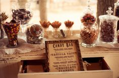 vintage style country candy buffet. I especially love the little menu in front