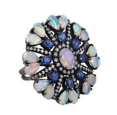 14K Gold Diamond ebnen Diamantring Opal von fashiondiamondjewels