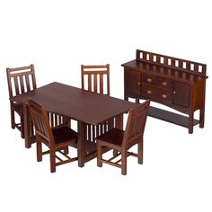 6-Pc.+Walnut+Mission-Style+Dining+Set