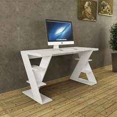 PAPILLON DESK win white, black options... Unique shelving on sides. Sleek surface for you to work on.. www.modernfurnituredeals.co.uk