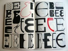 Sketchbook series of hand-drawn alphabet in multiple styles by artist Xelo Garrigos Pina.