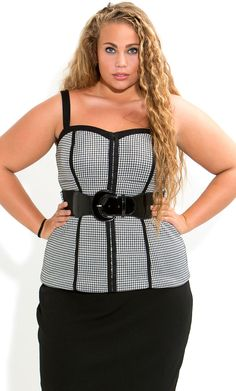 City Chic - HOUNDSTOOTH CORSET - Women's plus size fashion