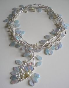 Lariat Necklace. Baby Blue Glass Leaves On Silver Leather Cord. Accented with Glass Pearls and Vintage Swarovski Crystals  Handcrafted Jewelry Designs by Julie Armstrong