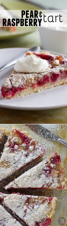 The perfect fall dessert, this Pear and Raspberry Tart takes advantage of ripe, sweet pears and tart raspberries for a beautiful tart that is worthy of company.