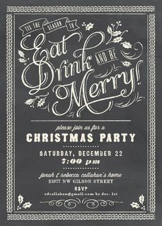 Christmas Chalkboard Celebration Holiday Party Invitations by Elli Invitation Fete, Christmas Party Invitations, Xmas Party, Holiday Parties, Holiday Fun, Christmas Holidays, Christmas Flyer, Christmas Train, Nordic Christmas