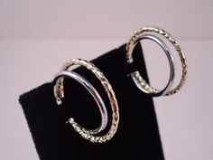 ITALY 24k GOLD over 925 STERLING SILVER 2 TONE DOUBLE HOOP EARRINGS  1.25 inch #AuthenticItalianCraftsmanship #Hoop