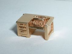 VINTAGE 14k YELLOW GOLD 3D MOVEABLE TYPEWRITER DESK CHARM #Charm