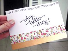 she has a do-able lettering style - some samples, here: ...... DIY Handmade Notecards
