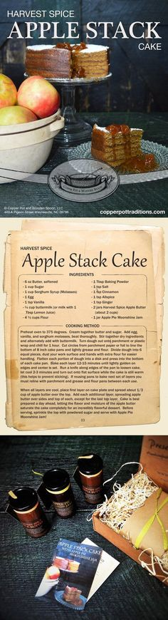 An Apple Stack Cake Recipe Gift Box! A beautiful Recipe Card with jars of Apple Butter and Apple Pie Moonshine Jam to create this yummy dessert.  Perfect holiday gift for the baker and dessert lover!