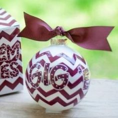 Any stylish fan will love this Texas A&M Chevron Ornament... Gig 'Em Aggies! Personalize it with a name and date for a special spirited keepsake. All collegiate ornaments come boxed and tied with a coordinating ribbon making them the perfect gift for anyone.