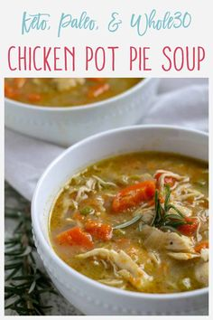 his Keto Chicken Pot Pie Soup is comfort in a bowl! It can be made in the Instant Pot or on the stove and is super rich, creamy, and easy to make. It comes together in about 30 minutes and is guilt free because it's also Paleo, Gluten Free, & Dairy Free! Keto Chicken Soup, Easy Chicken Pot Pie, Paleo Soup, Healthy Soup, Whole 30 Soup, Paleo Whole 30, Soup Recipes, Chicken Recipes, Healthy Recipes