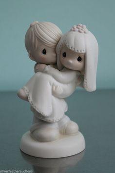 Wedding Cake Topper Precious Moments Bride/Groom Bless You Two Enesco E9255 #Enesco #PreciousMoments #Wedding #CakeTopper #Bride #Groom #Figurine