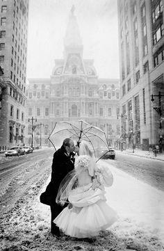 snowy wedding day