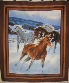 Wild Wings Approaching Storm Horse Wall Hanging 100% Cotton Fabric panel  equine #SpringsIndustries