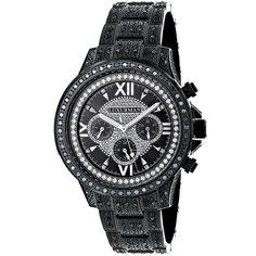 Iced Out Mens Black Diamond Luxurman Watch 3ct