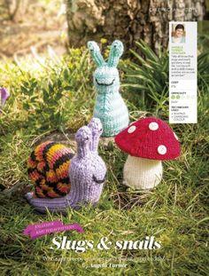 Slug, Snail, Mushroom - Free Knitting Pattern here: https://www.flickr.com/photos/50592480@N08/sets/72157644471283747/