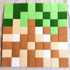 I hope the first 3 quilt blocks have gone well for you. Today I have block number 4 – the Minecraft Dirt Block to share with you. After you complete this block (and the other three) you will … Minecraft Blanket, Minecraft Pattern, Minecraft Blocks, Minecraft Room, Minecraft Crafts, Minecraft Party, Minecraft Stuff, Strip Quilts, Boy Quilts