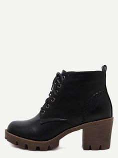 43$  Buy now - http://di6pz.justgood.pw/go.php?t=8719 - Black Distressed PU Lace Up Rubber Soled Chunky Boots