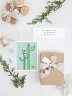 Cactus Christmas Cards Desert Holiday Card by MissDesignBerryInc