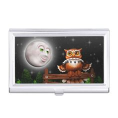 NEW at #zazzle!  #Surreal #Owl and #Moon #Business #Card #Holders