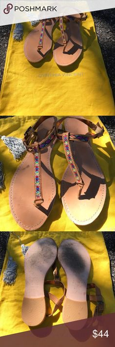 CYNTHIA VINCENT RAINBOW STITCH LEATHER SANDALS Awesome pair of preloaded condition Cynthia Vincent rainbow stitch leather sandals. Comes with Cynthia Vincent bag as shown! I've worn these on 3 separate occasions and I'm passing on the good vibes these adorably chic sandals bring to the next lucky owner! Size 9, will fit 8.5/9 perfectly! 🌈POSH ONLY🌈 Cynthia Vincent Shoes Sandals
