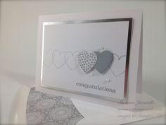 WeddingWishes  Hearts A Flutter stamp set and Framelits,  Delightful Dozen stamp set, silver Foil cardstock sheets, metallic Silver Encore ink pad,