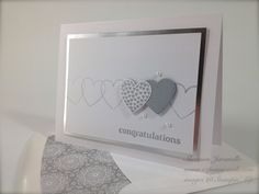 Wedding Wishes  Hearts A Flutter stamp set and Framelits,  Delightful Dozen stamp set, silver Foil cardstock sheets, metallic Silver Encore ink pad,