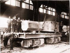 Homestead steel workers with railroad flat car and 90-ton steel ingot (circa 1893) (Carnegie Museum of Art)