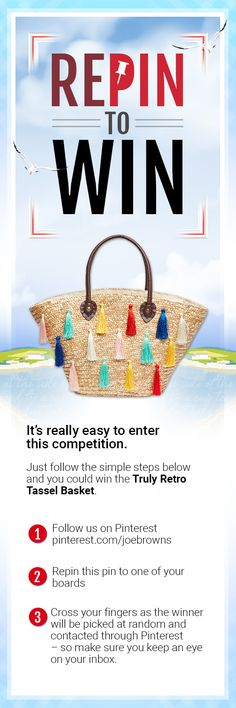 Joe Browns Spring Competition! Not got a Pinterest account? Just follow our easy steps to set one up and you'll be able to enter this competition.      1.Sign up for a Pinterest account by entering your email and creating a password on www.pinterest.co.uk   2.Create a new board     3.Follow us on Pinterest: pinterest.com/joebrowns   4.Save this pin to your new board to enter the competition     5.Don't forget to keep an eye on your inbox as the winner will be contacted through Pinterest…