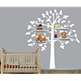 Amazon.com: Book Shelf Tree Wall Decal - Birdhouse, Squirrels, Bunnies and More: Baby