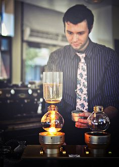 The art of Syphon Coffee Brewing at Cafe Demitasse, Los Angeles