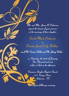 elegant navy blue and gold damask wedding invitations EWI042