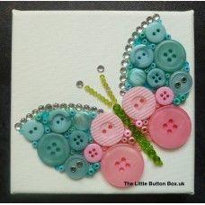 Button Art Aqua Blue and Pink Butterfly