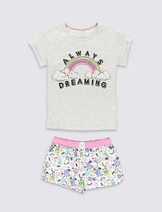 Cotton Rich Stay Soft Always Dreaming Slogan Short Pyjamas (6-16 Years) | M&S