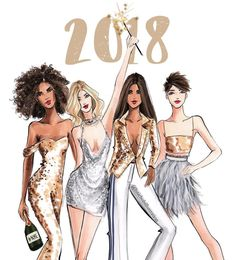NEW YEARS • SERIES @hnicholsillustration #NYE #2018FashionIllustrations #2018 #HappyNewYear #FashionIllustrations |Be Inspirational ❥|Mz. Manerz: Being well dressed is a beautiful form of confidence, happiness & politeness