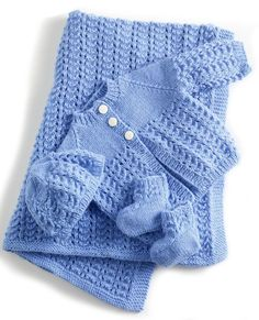 Free Knitting Pattern for 4 Row Repeat Lullaby Layette - This lace layette pattern set includes a blanket, booties, hat, and cardigan. SIZE: 3-6 mos, 12 mos, 24 months (2 yrs) Designed by Lion Brand Yarn