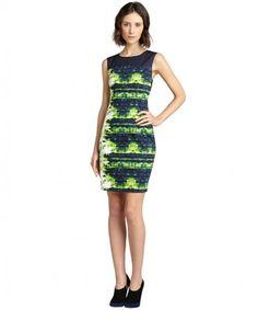 Elie Tahari margarita green printed stretch cotton 'Emory' shift dress on WearsPress