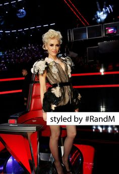 Gwen Stefani wearing a Jean Paul Gaulthier top with Blumarine patent leather skirt and Christian Louboutin patent leather pumps at The Voice Top 10 Results show.Styled by #RandM.
