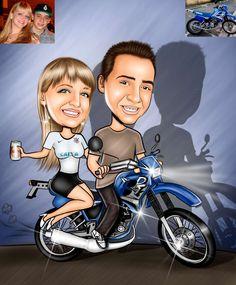 Caricaturas digitais, desenhos animados, ilustração, caricatura realista: Desenho de namorados na moto !!