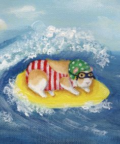 Surfing Guinea Pig Print