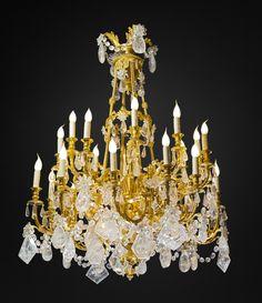 Rock- crystal chandelier. Unique. Alexandre VOSSION antiques.