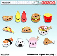 Kawaii food clipart dinner PNG graphics
