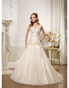 RONALD JOYCE A-linie Festliche Tolle Brautkleider aus Softnetz mit Perlenstickerei